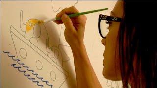 Mural infantil mapamundi pintado a mano de La que pinta
