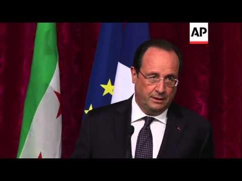 French President Hollande meets Syrian National Coalition Chief Ahmad Al-Jarba