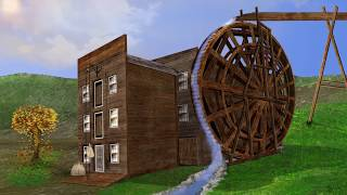 Animated Grist Mill Drawing