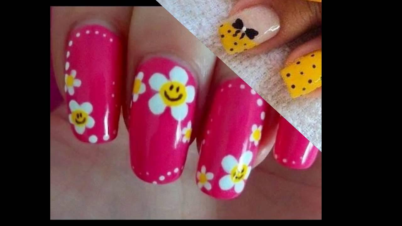 Modelos de Uñas decoradas con flores de puntos - YouTube