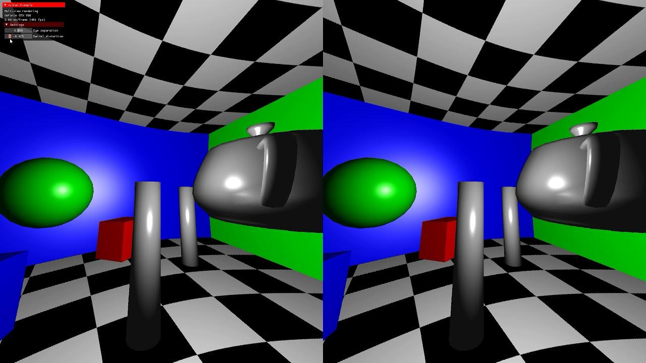 Vulkan API multiview and barrel distortion (VR)