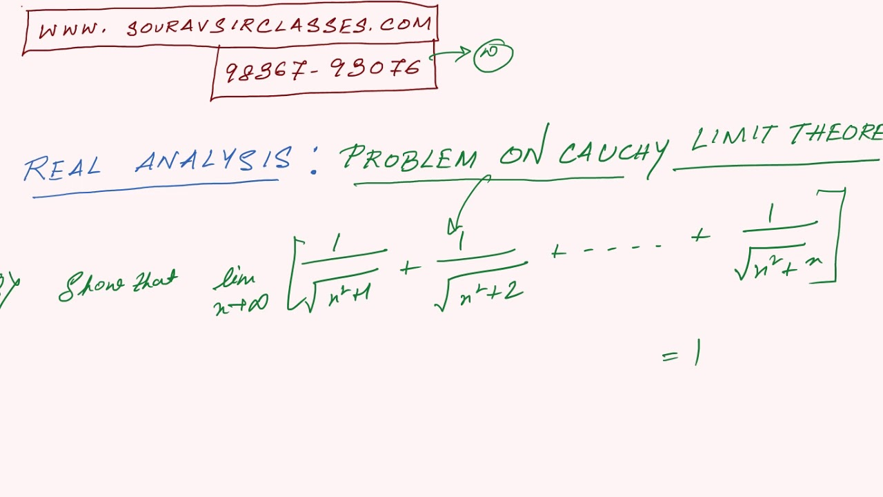 REAL ANALYSIS PROBLEMS SEQUENCE CAUCHY LIMIT THEOREM 2 books coaching  preparation notes solved paper