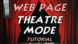 Web Page Theatre Mode Overlay Tutorial CSS Javascript Light Switch Toggle Darkness