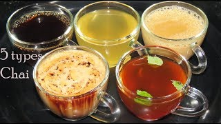 5 Types of Tea-Chocolate Tea-Masala Tea-Lemon Tea-Herbal Tea-Black Tea-Chai-Masala chai-ginger chai
