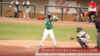 Jesse Winker batting for the Dayton Dragons