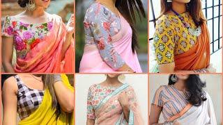 Plain saree printed blouse design ideas || Printed blouse with plain chiffon saree 2019 screenshot 1