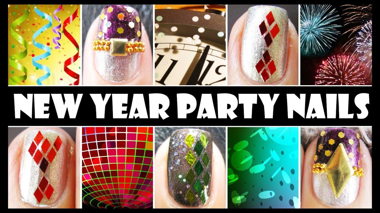 New year party nails glitter nail art design tutorials easy new year party nails glitter nail art design tutorials easy simple beginners decal for short nails youtube prinsesfo Gallery
