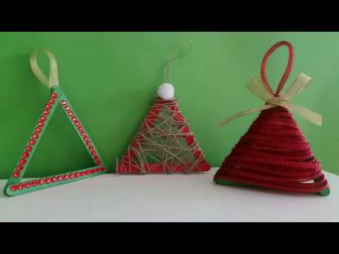 Lavoretti Di Natale Con I Bastoncini Del Gelato.Addobbo Natalizio Albero Di Natale Con I Bastoncini Tutorial Fai Da Te