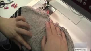 Sy strikketøj sammen med symaskinen
