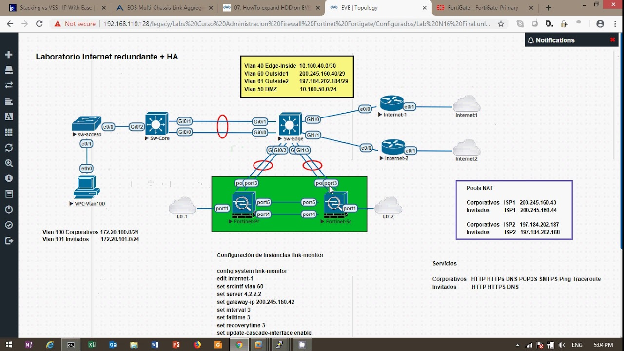 Preview Lab Fortinet Fortigate Dual Internet + HA on EVE-ng (spanish)