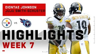Diontae johnson & juju smith-schuster shared the load against tennessee. both finishing with 8 catches for 80 85 yards respectively. added 2 touchd...