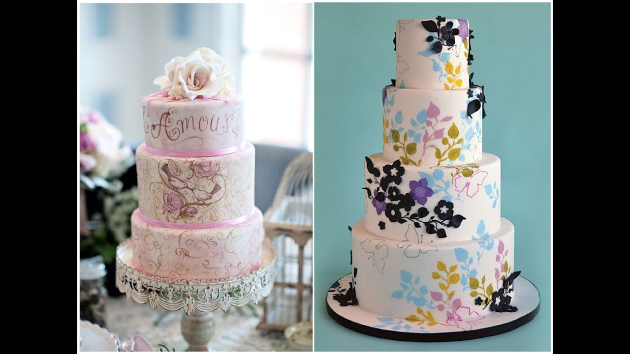 15 Amazing Hand Painted Wedding Cakes   Hottest Trend of 2015   YouTube