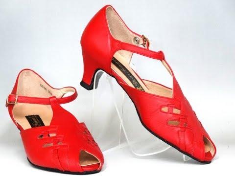 幅広5cmヒール・兼用社交ダンスシューズ5030W黒と赤ダンス靴