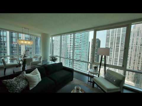 A corner 1-bedroom model at ParkView Condominiums in Streeterville