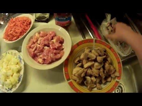 Капуста с мясом и грибами в мультиварке тушеная