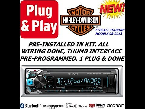 Plug -And -Play Harley Touring 1998-2013 Kenwood Marine Radio Stereo Pre Installed and Programmed