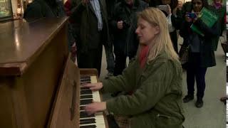 Valentina Lisitsa plays for passengers at St Pancras International Station