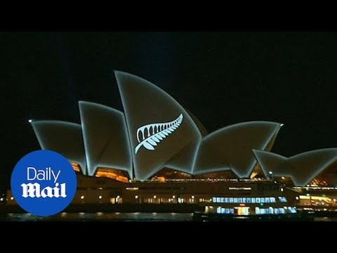 Sydney Opera House Lit Up With Silver Fern Of New Zealand