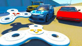 Cars Crash Into Giant 1000 MPH Fidget Spinner! - BeamNG Drive Crash Test Compilation Gameplay