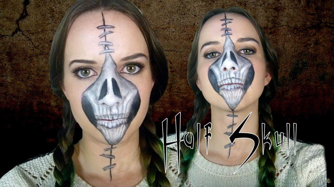 half stapled skull halloween day of the dead makeup tutorial youtube - Halloween Day Of The Dead Face Paint