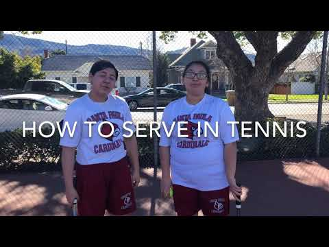 Santa Paula High School Physical Education Students teach how to serve in tennis, LaMaestra805