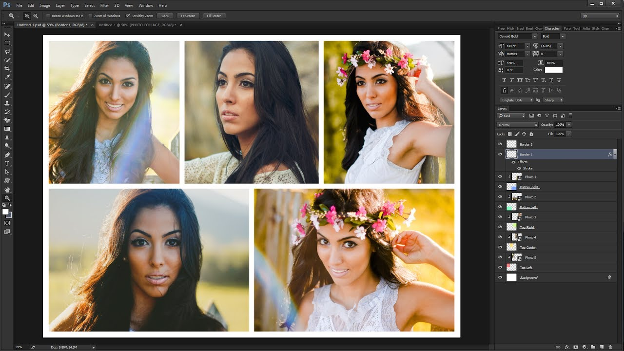 How To Create A Photo Collage Template In Photoshop Youtube