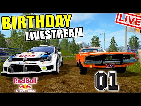 BIRTHDAY LIVE STREAM | RACE DAY | GENERAL LEE + RALLY CAR | FARMING SIMULATOR 2017