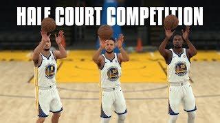 Golden State Warriors Half Court Shot Competition   NBA 2K18 Challenge  