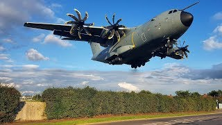 LOW | Royal Air Force MASSIVE Airbus A400M landing at RAF Northolt | London