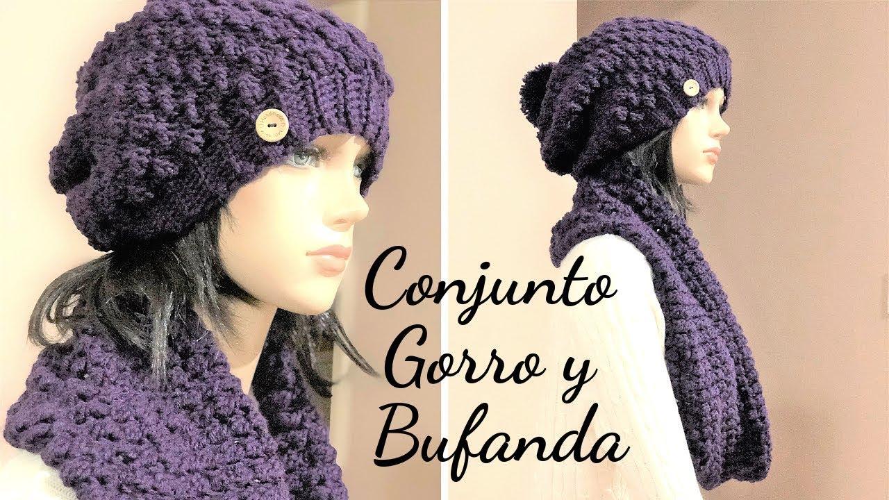 en venta bb751 f7009 Conjunto Fácil de Gorro y Bufanda Tejido en Crochet Punto Burbuja