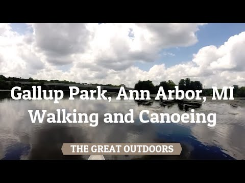 Gallup Park, Ann Arbor, MI - Walking and Canoeing [HD]