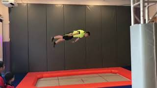 Professional Player Shows High Performance Jump Or Olympic Trampoline With Walking Wall