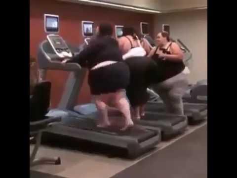 Fat woman on treadmill