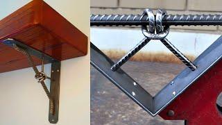 I make an Industrial Style Shelf Bracket, bending Steel Rebar into a knot - MIG Welding Project