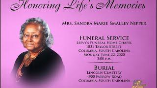 Mrs. Sandra Nipper - June 22, 2020 - Leevy's Funeral Home Live Stream