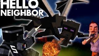 Minecraft: Hello neighbor - Neighbors DRAGON vs SWAT TEAM