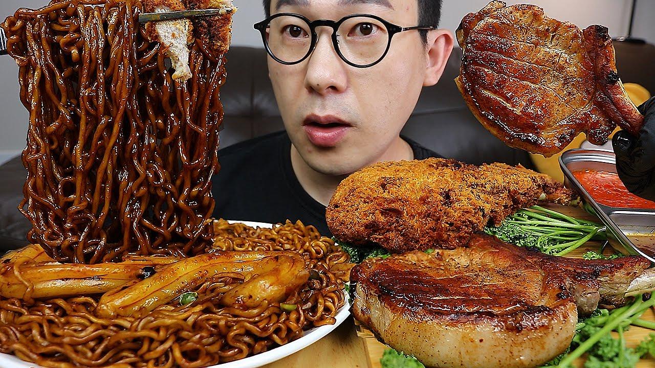주말이니까~ 분모자가 들어간 사천짜파게티와 🍖겉바속촉 돈마호크카츠와 돈마호크 먹방 Spicy chapagetti & Fried  Pork Steak MUKBANG