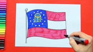 How to draw and color the State Flag of Georgia