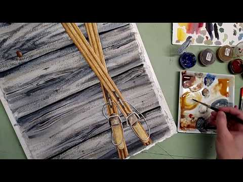 Part 2 Painting Antique Skis and Barn Board with Watercolor