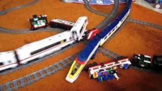 LEGO train crash #2 high speed Eurostar and ICE 3 on 9V double track