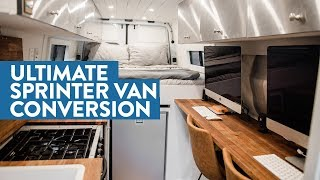 Self Converted Off Grid Sprinter Van With Full Office, Bathroom, And Garage