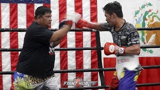 MANNY PACQUIAO LOOKS SAVAGE ON FINAL DAY OF TRAINING! SHOWS FIGHT NIGHT SPEED FOR THURMAN!