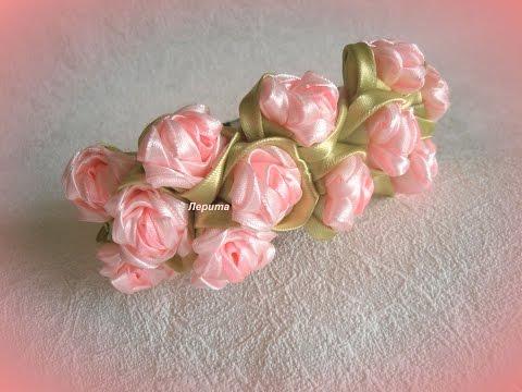"""Канзаши мастер класс, как сделать ободок с цветами из атласных лент, лепесток """"ушки"""", розочки"""