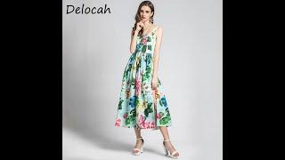 Delocah летние женские модные взлетно посадочной полосы вечерние платье трапециевидной формы