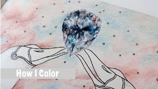 HOW I COLOR Diamond | Summer Nights (Sommarnatt) Coloring Book | Prismacolor