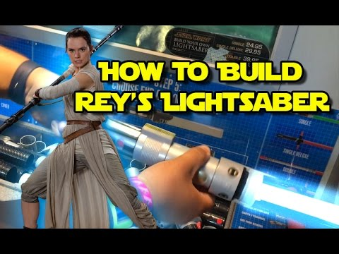 star wars build your own rey s lightsaber toy at disneyland youtube
