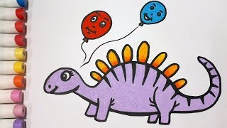 How To Draw A Dinosaur and Balloons || Draw For Kids