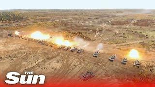 NATO tests a twenty-five tank barrage