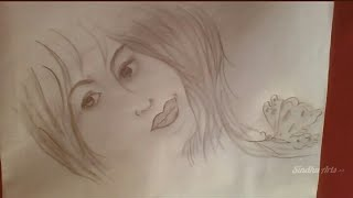 How to Draw Beautiful Girl Face Sketch with Butterfly - Very Easy Steps