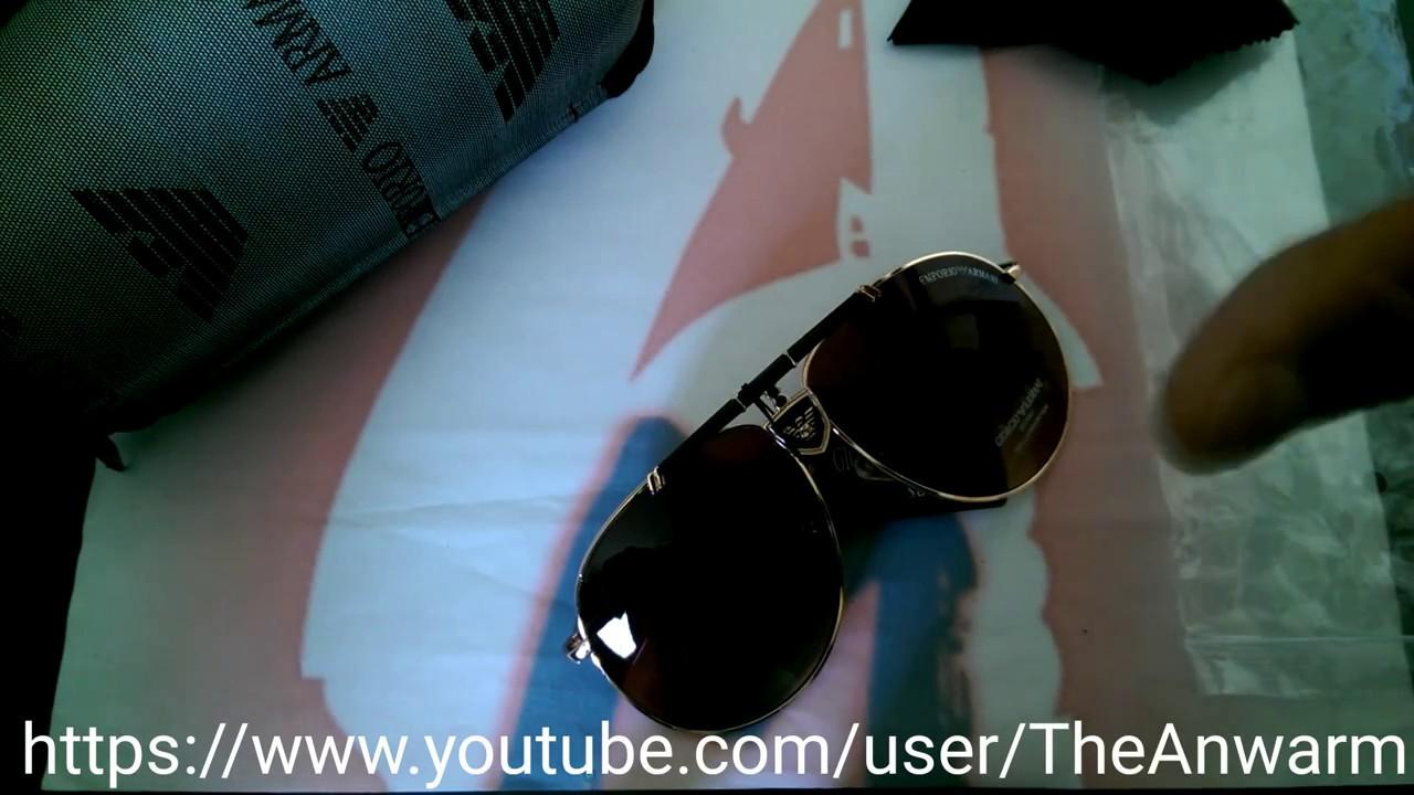 49132bda43 How to Spot Fake Armani Mens Aviator Style Sunglasses - YouTube